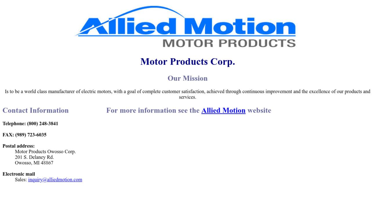 Motor Products Owosso Corp.